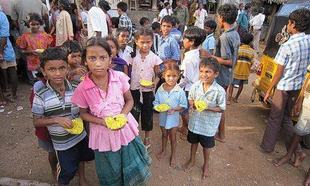 Distribution of Food to Children in Ponnuru Village