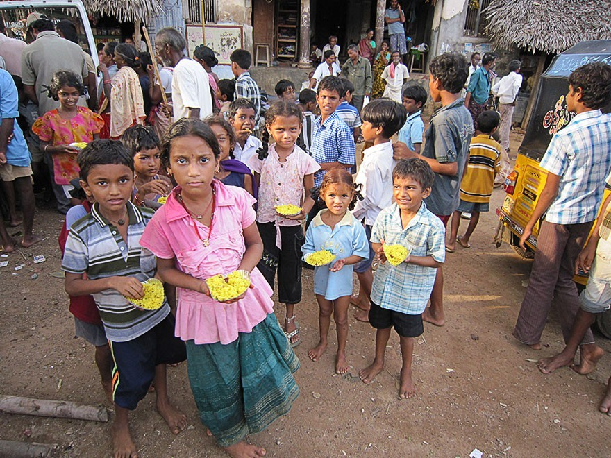 Distribution of Food to Children in Ponnuru Village