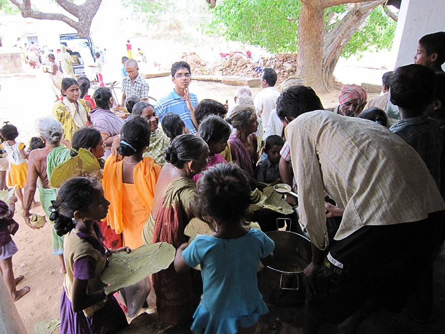 Food Distribution in Tadivada Village, Andhra Pradesh