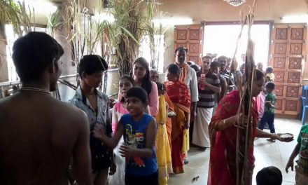 Distribution of Sugarcane for Pongal Celebrations at Our Ashram in Chennai