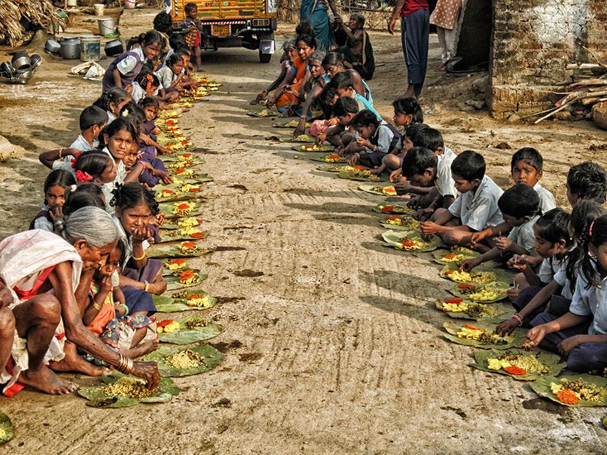 Food Distribution in Chinnapuram Village, Andhra Pradesh