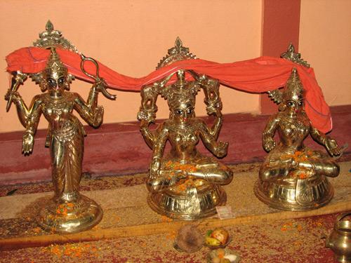 Ashtadhatu Deities of Sri Devi, Bhu Devi and Vimala Devi Installed at the Bhaktivedanta Ashram