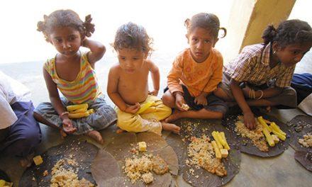 Food Distribution at School in Vijayaramapuram Village, Andhra Pradesh